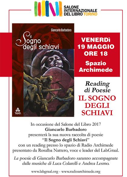 Salone del Libro di Torino - Venerdì 19 Maggio ore 18 - Reading di Poesie Il Sogno degli Schiavi