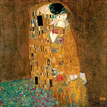 """8792a6c542 """"Il bacio"""", olio su tela 180×180 cm realizzato nel 1907-08 dal pittore  austriaco Gustav Klimt, Österreichische Galerie Belvedere, Vienna"""