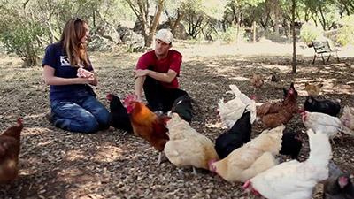Kip Andersen, produttore della pellicola, in una scena del film mentre intervista un'allevatrice di galline