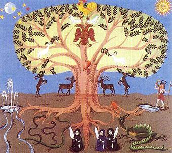 L'Yggdrasil, l'albero mitico dell'antico druidismo usato come riferimento, forse non a caso, dell'evoluzione umana mostra la Korà che parte da un seme di consapevolezza nel buio della mente-terreno per crescere e raggiungere con il suo fogliame il cielo del mistero mistico dell'esistenza