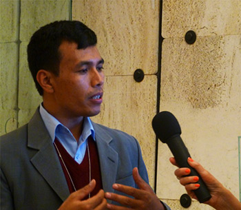 Dev Kumar Sunuwar, presidente dell'Indigenous Media Foundation, Nepal all'Expert Mechanism on the Rights of Indigenous Peoples delle Nazioni Unite di Ginevra