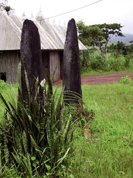 Monoliti rituali neri, associati ad altre piante cosiddette pericolose, di 2m e 2,5m, in basalto. La data determinata è probabilmente il XVIII o XVII secolo (fonte orale)