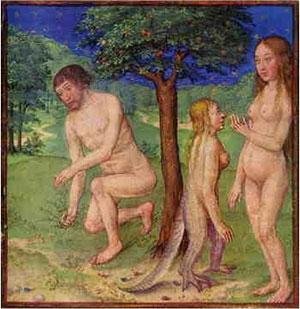 La rappresentazione medievale del ''serpente'' che portò alla conoscenza i due capostipiti dell'umanità. Il dipinto mostra l'immagine di una creatura sauroide