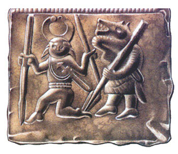 Antica placca di metallo che mostra un guerriero celta affiancato da una creatura sauroide