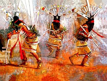 La danza Apache di Ga'an, il danzatore spirituale che secondo il mito ha donato la conoscenza agli uomini. Mito analogo a quello delle origini della Kemò-vad, la danza sacra dello sciamanesimo druidico