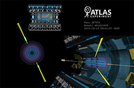 A light-by-light scattering candidate event measured in the ATLAS detector. (Image: CERN)