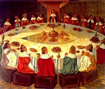La Tavola Rotonda della leggenda, dove i Cavalieri della saga arturiana sono disposti secondo il simbolo della ruota forata di Fetonte. Come nel simbolismo celtico del cerchio mistico, che definiva la Causa Prima, il centro era dominato dal Graal che appariva solamente a chi era in grado di vederlo