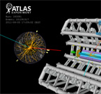 Display of a candidate event for a W boson decaying into one muon and one neutrino from proton-proton collisions recorded by ATLAS with LHC stable beams at a collision energy of 7 TeV.  (Image: CERN)