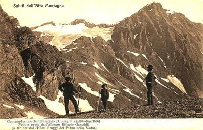 La Ciamarella e il suo ghiacciaio in una cartolina d'epoca (archivio Gianni Castagneri)