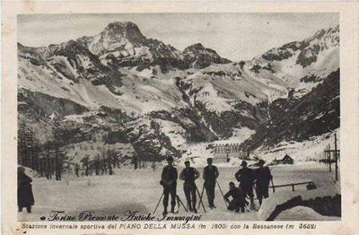 Escursione al Pian della Mussa in una cartolina d'epoca