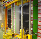 View of the OPERA detector (on the CNGS facility) with its two identical Super Modules, each one containing one target section and one spectrometer  (Image: CERN)