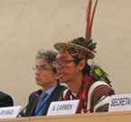 Benki Piyako of Ashaninka People, Amazon, at the United Nations Mechanism on the Rights of Indigenous Peoples