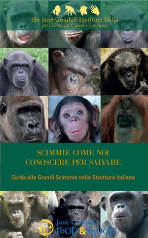 """La guida alle grandi scimmie """"Scimmie come noi, conoscere per salvare"""" edita da The Jane Godall Institute Italia che ha pubblicato l'articolo di Rosalba Nattero, qui in versione integrale"""