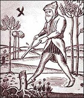La pratica rabdomantica in un disegno antico