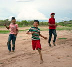 Ayoreo children Edison, Hugo and Eber play in Totobiegosode community of Arocojnadi. 2019  (Image: X. Clarke/Survival International)