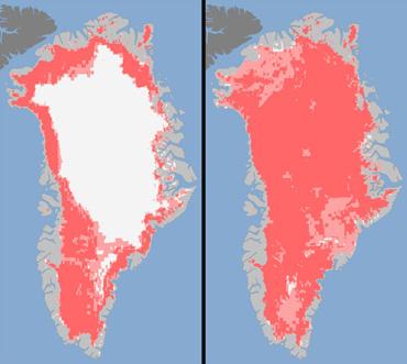 In Groelandia lo scioglimento della calotta è passato dal 40 al 97% in 4 giorni