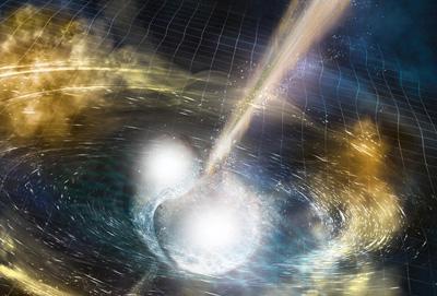 Illustrazione artistica di due stelle a neutroni che si scontrano in un evento chiamato kilonova. Credit:  Sonoma State University