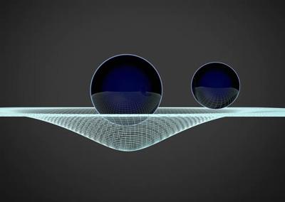 Una rappresentazione concettuale delle increspature dello spazio-tempo, immaginato come una sorta di grande tappeto elastico, perturbato da masse in movimento