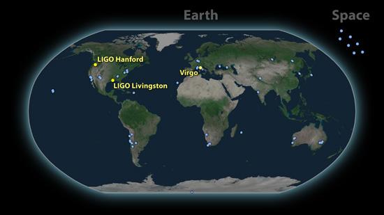 Una mappa dei circa 70 osservatori che hanno rilevato l'evento delle onde gravitazionali. Credit:  LIGO