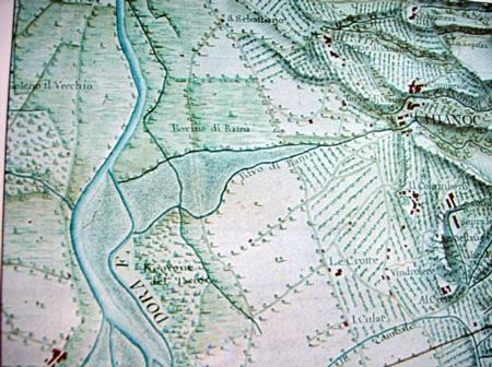 Mappa settececentesca nell'Archivio di Stato indicante le Rovine di Rama e il Rivo di Rama