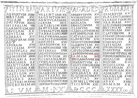 Scritta della coppa votiva in argento di epoca romana ritrovata sul Lago di Bracciano che reca incise le località del pellegrinaggio da Cadice a Roma comprendente il nome della località Rama