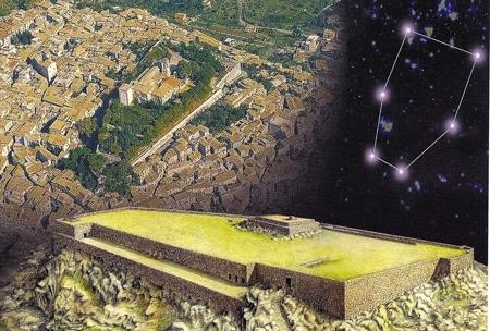 Veduta dall'alto dell'Acropoli di Alatri la cui forma rispecchia la costellazione dei Gemelli