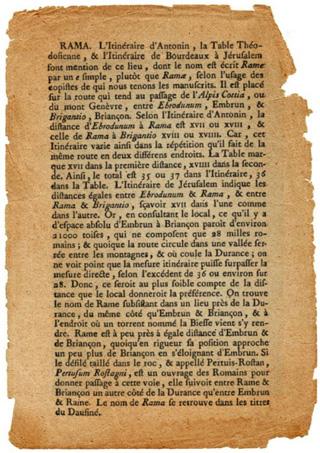 "Particolare della guida francese ""Notice de l'ancienne Gaule"" che cita Rama"