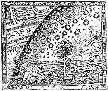Incisione medievale raffigurante l'uomo che esce dall'universo conosciuto