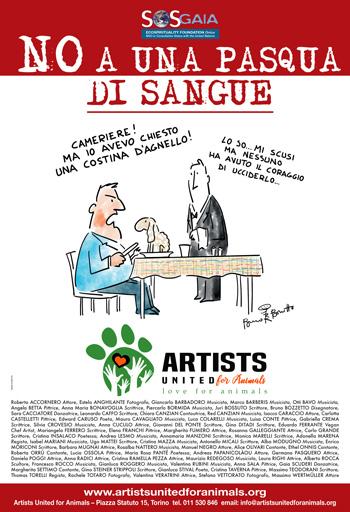 La campagna di SOS Gaia e Artists United for Animals del 2019 imperniata su un disegno di Bruno Bozzetto