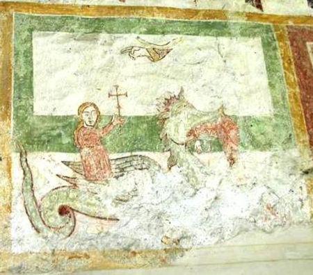 Abbazia di Piona Affresco Santa Margherita e il Drago 1200 circa