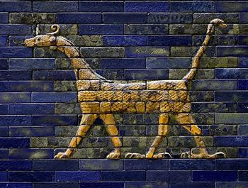 Mushussu, drago babilonese, raffigurato sulla splendida porta di Ishtar