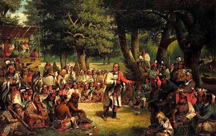 Rappresentazione di un Gran Consiglio della Confederazione Irochese. Anche Benjamin Franklin presenziò a diversi di questi incontri