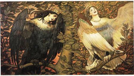 """L'Alkonost e il Sirin in un dipinto del 1896 di Viktor Vasnetsov dal titolo """"Birds of Joy and Sorrow"""""""