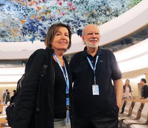 Rosalba Nattero con Giancarlo Barbadoro all'ONU di Ginevra. Nattero è musicista, giornalista, scrittrice. E' l'attuale presidente della Ecospirituality Foundation ed ha fondato il Centro Studi Giancarlo Barbadoro per divulgare il patrimonio intellettuale ereditato da Barbadoro