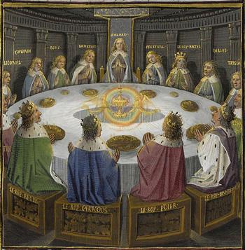 I Cavalieri di Re Artù intorno alla Tavola Rotonda in un dipinto medievale. La Tavola è raffigurata con il centro vuoto, in cui compare il Graal